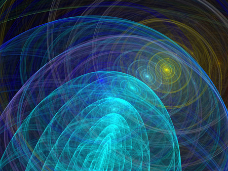 multi layered: Abstract computer-generated image background with waves, curls and circles Stock Photo