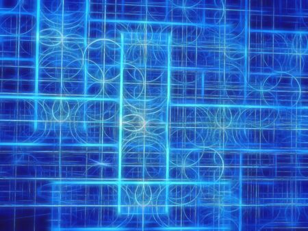 distributed: Abstract digitally generated blue image pattern of randomly distributed circles and rectangles Stock Photo