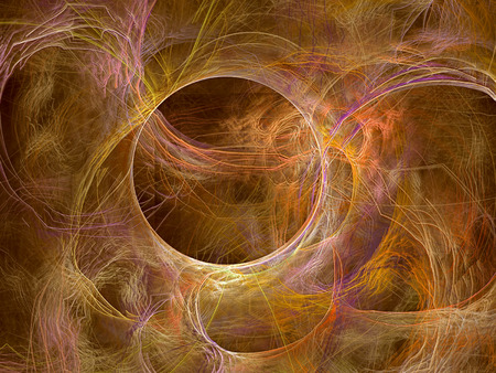 chaos: Abstract computer-generated image sand background with chaos curves and circle