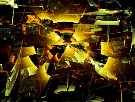 chaos: Abstract computer-generated image black and yellow chaos background