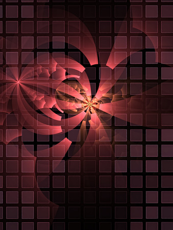 Abstract digitally generated red image flower behind bars with square mesh