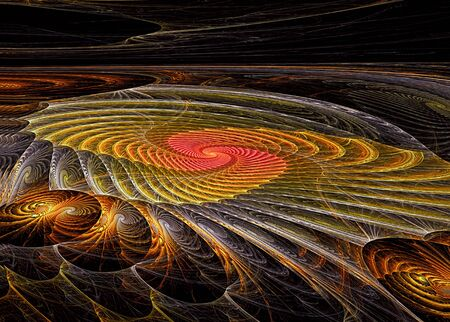 outlook: Abstract computer-generated orange image large futuristic spiral outlook