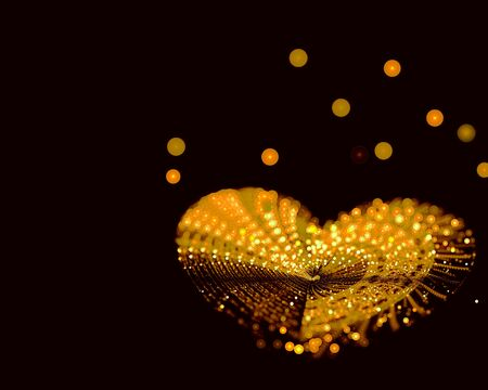 gold heart: Abstract digitally generated selective focus image gold heart made of beads on a dark background with copyspace