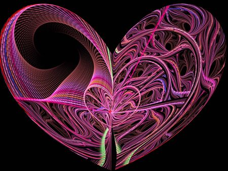 yarns: Abstract computer-generated image pink heart of twisted yarns