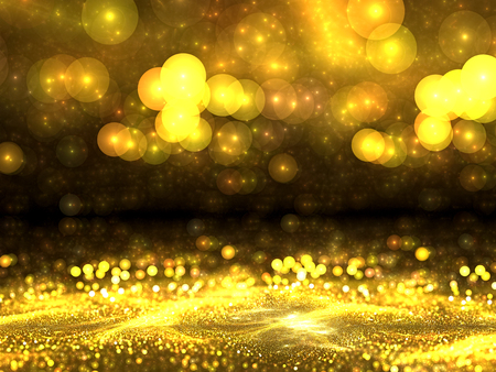 vanishing point: Abstract gold backgound - computer-generated image. Blurred image of gold dust or crumbs, and with the prospect of circular bokeh. Trendy fractal art. for posters, banners, backdrops