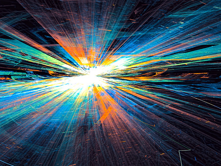 diminishing point: Abstract bright colored technology background computer-generated image with with glowing stripes and lines, leaving the horizon. Fractal artwork for banners, posters, web design, wallpaper desktop Stock Photo