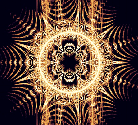 sacral: Abstract stylized golden flower - computer-generated image. Sacral geometry. Fractal artwork - graphic design element for web design, prints on clothes and t-shirts, banners Stock Photo