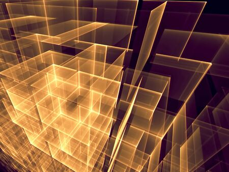 desktop wallpaper: Abstract tech background computer-generated image of glowing golden cubes  drawn on each other on a dark background. Fractal artwork for web design, banners, covers, posters, prints, desktop wallpaper