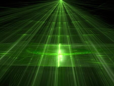 the prospect: Abstract green background computer-generated image. Trendy fractal artwork - surface with straight lines, highlights and the prospect. Tech style background for web-design, banners and covers.