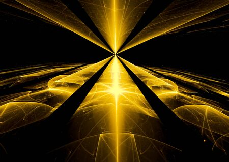 3 point perspective: Abstract computer-generated dark image glass or metal surface with perspective and light effects. Fractal technology background. For web-design, covers, posters.