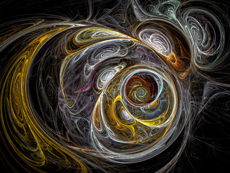 chaos: Abstract chaos background - computer-generated image. Fractal background with gold and silver chaos curves. Trendy fractal artwork for creative design.