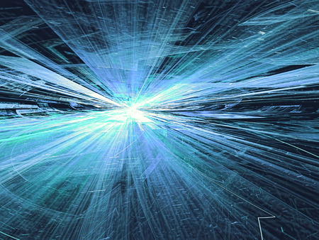 diminishing point: Abstract light blue technology background computer-generated image with glowing stripes and lines, leaving the horizon. Fractal artwork for banners, posters, web design, desktop wallpaper