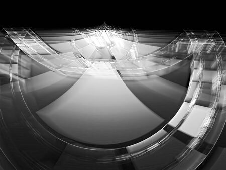 tunnel portals: Abstract technology background - computer-generated monochrome image. the entrance to the portal with a shiny glass or metal surface. For web-design, banners, posters.
