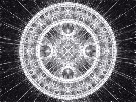 meditate: Abstract computer-generated image black and white mandala flower. Fractal background or graphic design element. sacred geometry - rays and rings.