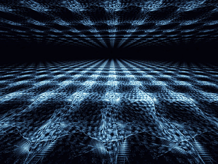 vanishing point: Fractal blue background - computer-generated image. texture of curved lines with the horizon and light effects. Trendy background chaotic fractal curves and prospect. Stock Photo