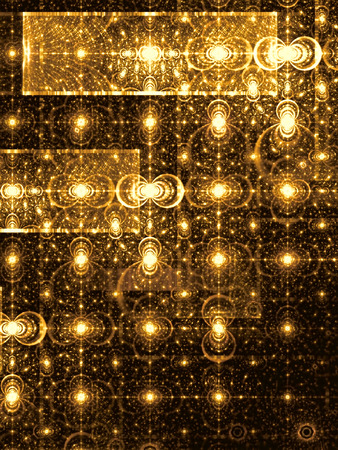 distributed: Abstract digitally generated golden image pattern of randomly distributed circles and rectangles. Fractal background with glowing elements for banners, posters, covers. Stock Photo