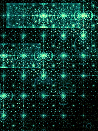 distributed: Abstract digitally generated dark green image pattern of randomly distributed circles and rectangles. Fractal background with glowing elements for banners, posters, covers. Stock Photo