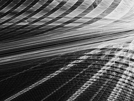 diminishing point: Abstract fractal background - computer-generated monochrome image. Textured rays with grid. Technology background with perspective. Fractal artwork for banners, web design, covers.