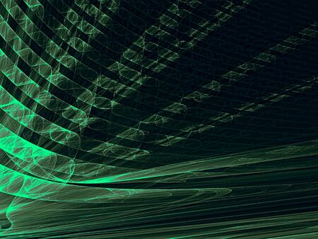 diminishing point: Abstract technology background - computer-generated image. Fractal artwork - green rays with perspective and textured surface. For banners, posters, web-design.