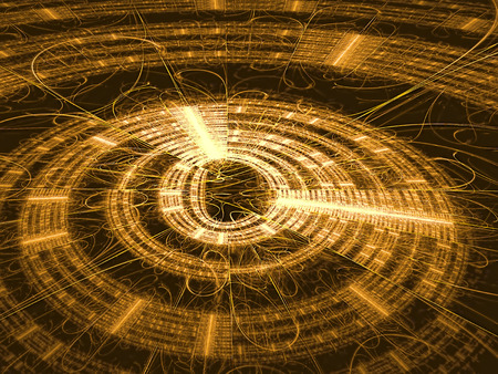 luster: Abstract technology backbround - computer-generated image. Fractal background - golden disc with radiating from the center lines and metallic luster. For banners, covers, web design