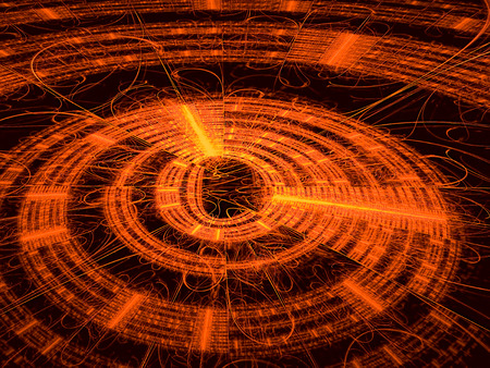 luster: Abstract technology backbround - computer-generated image. Fractal background - orange disk with radiating from the center lines and metallic luster. For banners, covers, web design