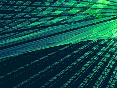 diminishing point: Abstract technology background - computer-generated image. Fractal artwork - diagonal rays with perspective and textured surface. For banners, posters, web-design.