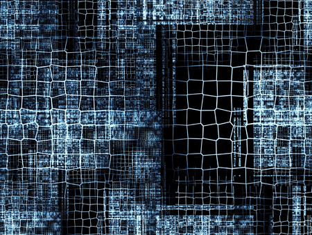 locations: Abstract tech background - computer-generated image. Classic fractal geometry: chaos lattices of different sizes at random locations repetitive. Technology background for banners, web design, covers