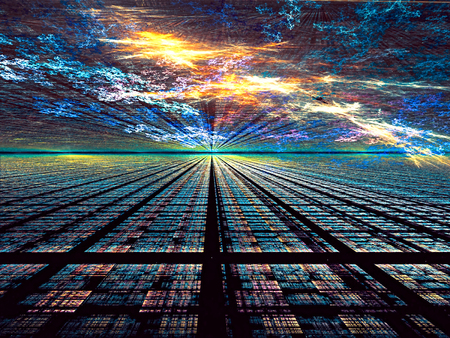 Abstract technology background - computer-generated image. digital art: dark surface of the rectangular cells, similar to the way to horizon under an unusual sky.