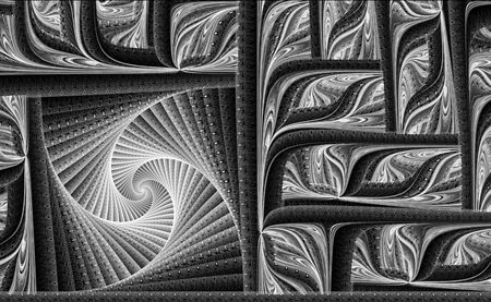 intricate: Abstract fractal background - computer-generated image. Digital art: complex intricate pattern consisting of curve. Stock Photo