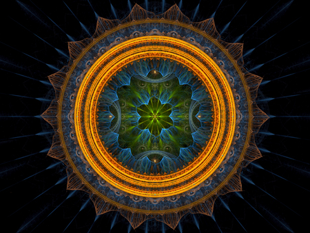 Abstract mandala flower - computer-generated image. Fractal art: complex mystical pattern - circles and curves with rays. 版權商用圖片