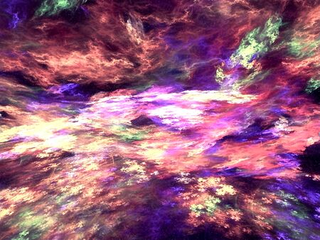 paint palette: Abstract colored futuristic sky - computer-generated image. Digital art: chaotic spots like streaks of oil paint palette. Stock Photo