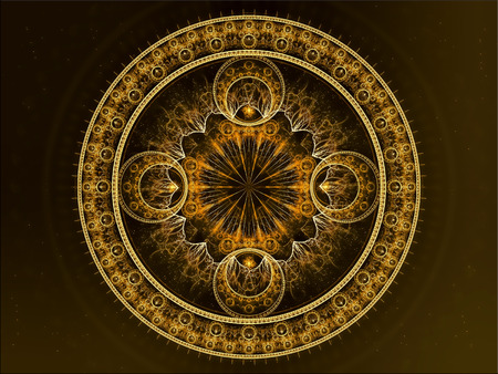 Abstract circle ornament - computer-generated image. Fractal art - mandala flower with an intricate pattern.