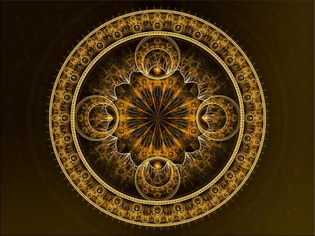 Abstracte cirkel ornament - computer-gegenereerde afbeelding. Fractal art - mandala bloem met een ingewikkeld patroon.