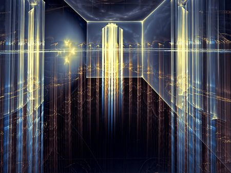 deep blue: Abstract technology background - computer-generated image. Fractal art - room with glass walls and ceiling, which can be seen through a futuristic city with skyscrapers.