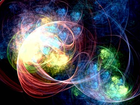 Abstract surreal background - computer-generated image. Fractal geometry composition: colorful chaos curves like futuristic sky, universe or planet. Stock Photo