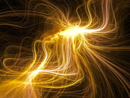 digital art: Abstract fractal background - computer-generated image. Digital art - chaos glowing curls like flash or lightning.