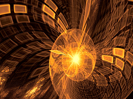 Abstract blurred technology background - computer-generated image. Fractal geometry: tech style spiral with checkered surface and reflections.