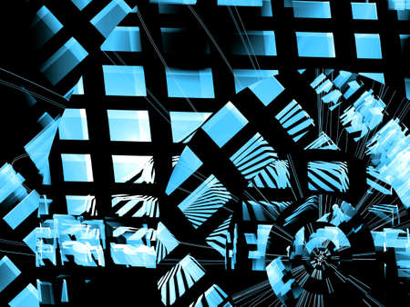 meshy: Abstract digitally generated  futuristic blue and white checkered design