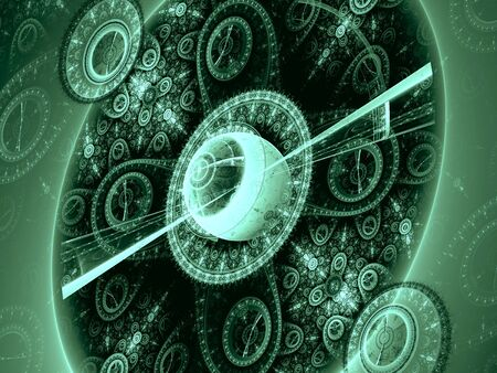 reminiscent: Abstract computer-generated green image of a circle with an elegant ornament, reminiscent of an old mechanical watches
