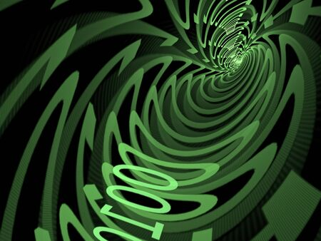 bytes: Abstract tech background - computer-generated image. Tunnel consisting of zero and one digit.
