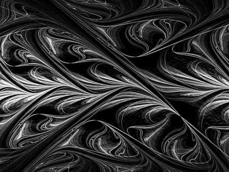 Abstract monochrome background - computer-generated image. Fractal geometry: exquisite pattern, twisted curves as if drawn by an oil paint.