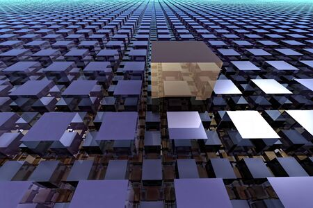 lined up: Abstract tech background - computer-generated image. 3D rendering fractal - cubes with a shiny surface, lined up in rows stretching to the horizon. Stock Photo