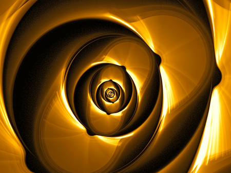 though: Abstract fractal flower - computer-generated image. Digital art: rose core, as though made of shiny metal.