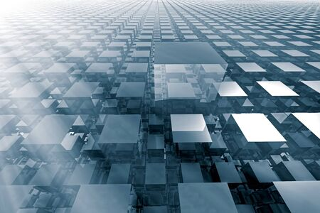 lined up: Abstract tech background - computer-generated image. 3d rendering fractal - cubes with a shiny surface, lined up in rows stretching to the horizon.