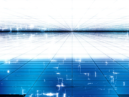 telecommunication: Abstract blue and white background - computer-generated image. Fractal art: glossy surface with grid and technology style light effects. Trendy backdrop for tech design projects.