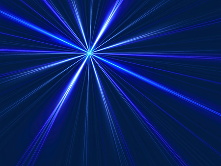 Abstract simple background - computer-generated image. Fractal art - glowing dot with rays like star. Technology or festive backdrop. Stock Photo