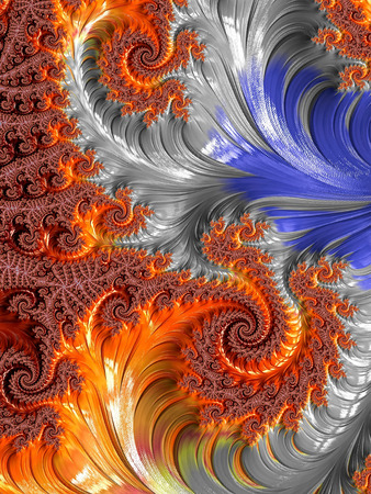 Abstract colourful background - computer-generated image. Classic fractal geometry - chaos curls and spirals, creating curlicue. Digital art for covers, puzzles, desktop wallpaper.