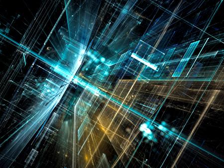 将来の技術背景 - コンピューター生成イメージを抽象化します。フラクタル アート: ガラス部屋や光の効果と超現実的な都市の通り。ハイテクや仮