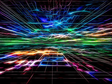 Abstract bright technology background -  computer-generated image. Fractal geometry: colourful surface, horizon and chaos neon glowing lines like flashes. Trendy tech or virtual reality concept.