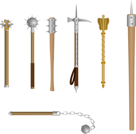 Vector set of icons medieval blunt weapon. The club-like weapons for melee combat in historical or fantasy style. Illustration